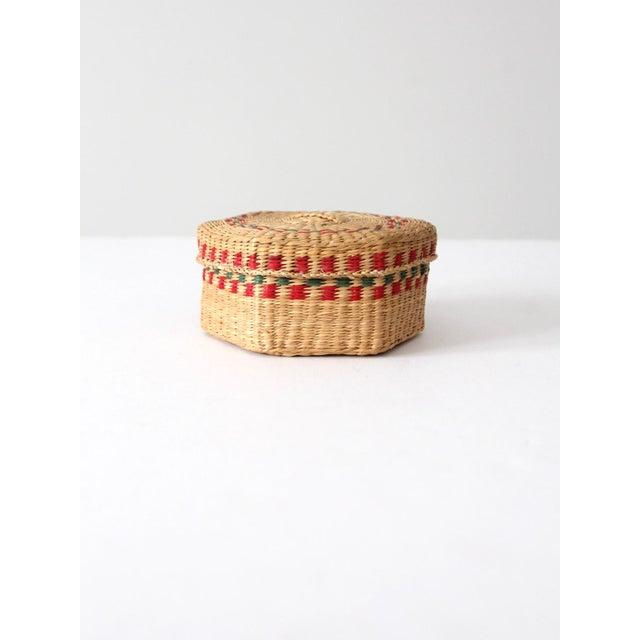 Cottage Vintage Sweetgrass Basket For Sale - Image 3 of 10