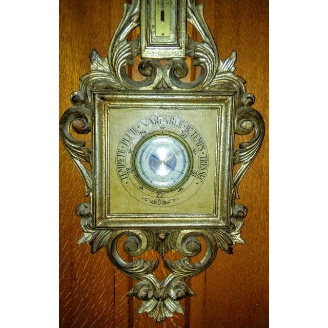 Vintage Italian Wood Tole Barometer Thermometer - Image 4 of 4