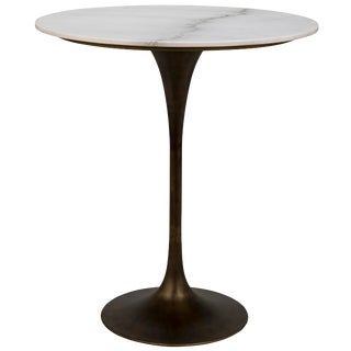 "Laredo Bar Table 36"", Aged Brass,White Marble Top For Sale"