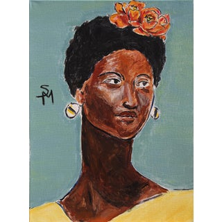 """""""Woman With Flowers in Her Hair"""" Contemporary Painting by Sarah Myers For Sale"""