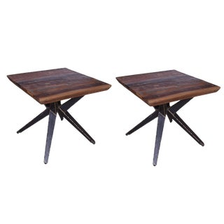Rustic Faunia Square End Tables - a Pair For Sale