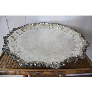 Vintage Mid Century Round Silver Tray Preview
