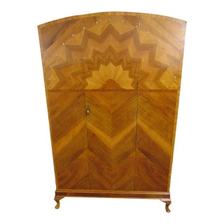 Art Deco Rosewood Sunburst Inlaid Armoire For Sale