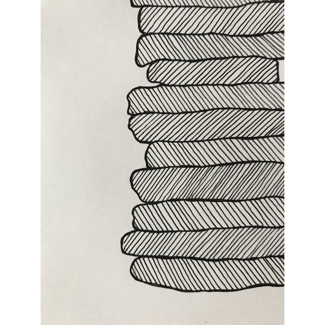 Abstract Stacked Shapes Hand Drawn Ink Illustration For Sale - Image 3 of 4