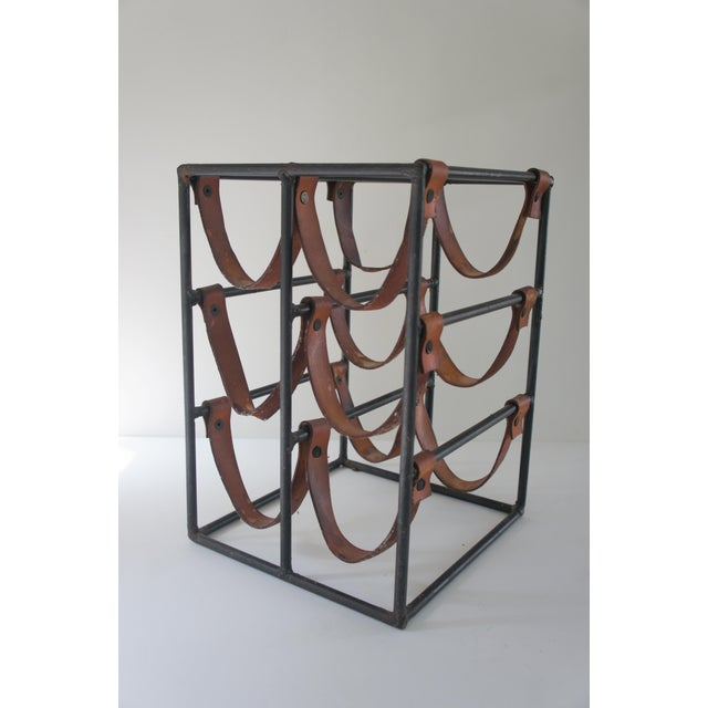 Mid-Century Modern Arthur Umanoff Sculptural Wrought Iron and Leather Wine Rack For Sale - Image 13 of 13