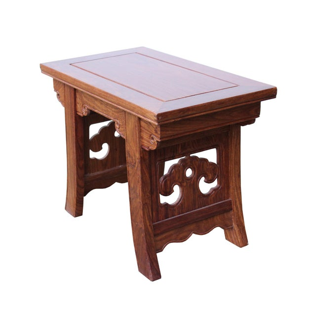 Asian Style Quality Handmade Ming Style Huali Rosewood Rectangular Stool For Sale - Image 4 of 6
