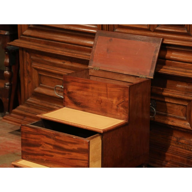 19th Century English Mahogany Leather Top Library Step Ladder With Storage For Sale - Image 10 of 13