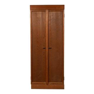 Japanese Taishō Period 1900s Hinoki Wood Armoire with Rare Design Folding Doors For Sale