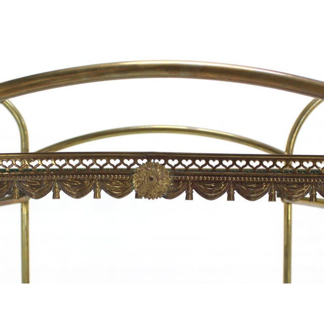 Mid-Century Modern Two-Tier Brass Serving Cart Table with Removable Trays For Sale - Image 3 of 10