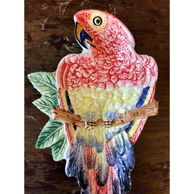 Vintage Italian pottery parrot catchall dish.