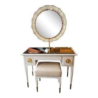 Anthropologie White Vanity W/ Gold Round Mirror For Sale