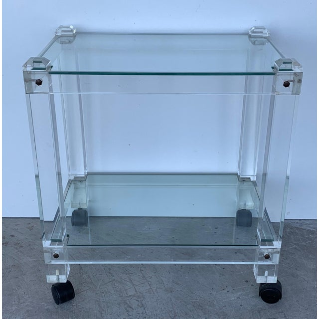 French 1970s Plexiglass Lucite Drink Bar or Dessert Cart For Sale In Miami - Image 6 of 9