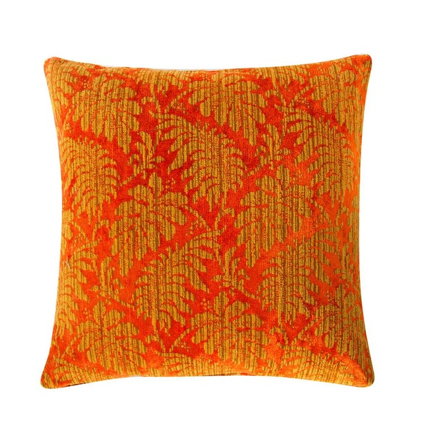 Contemporary Orange and Gold Damask Vintage Velvet Pillow Cover For Sale - Image 3 of 6