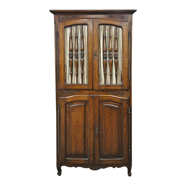 Late 20th Century Brown Wooden Corner Cabinet For Sale