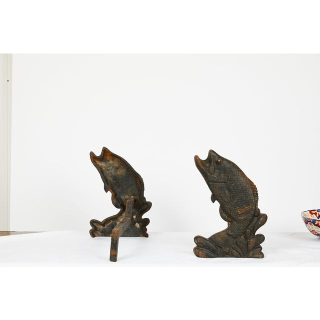 1900 - 1909 Pair of Antique American Cast Iron Leaping Fish Andirons For Sale - Image 5 of 9