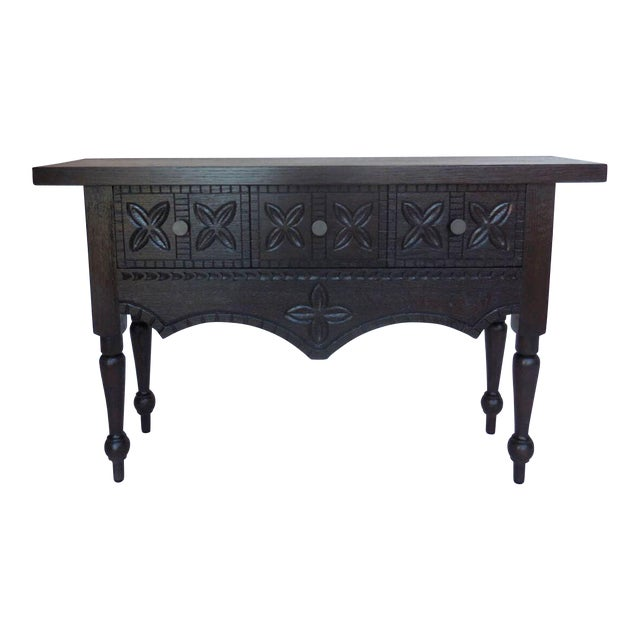 Custom Carved Console with Drawers For Sale