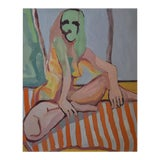 Image of 'Nude Lady on Orange Throw' Large Oil on Canvas by American Expressionist, George Brinner For Sale
