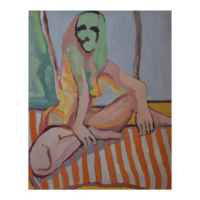 'Nude Lady on Orange Throw' Large Oil on Canvas by American Expressionist, George Brinner For Sale