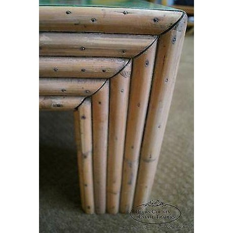 Paint Vintage Art Deco Rattan Bamboo Coffee Table For Sale - Image 7 of 13