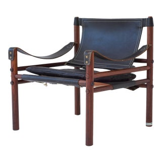 Vintage Mid Century Arne Norell Black Leather and Rosewood Safari Sirocco Chair For Sale
