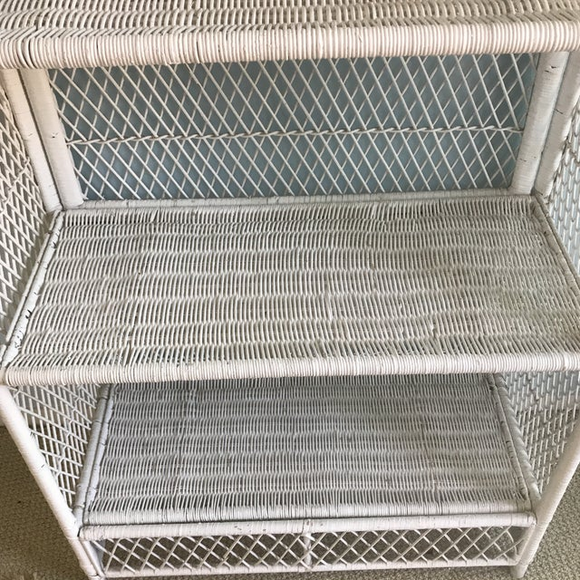 1970s Shabby Chic Victorian White Wicker 5-Shelf Wall Unit For Sale - Image 11 of 13