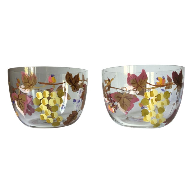 Vintage Grape Vine Crystal Bowls - A Pair - Image 1 of 5