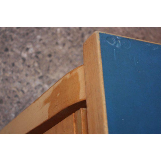 Alvar Aalto Birch Dining or Writing Table with Blue Top and Cabinet - Image 8 of 11