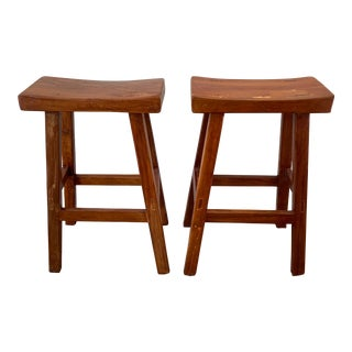 Reclaimed Teak Counter Stools - A Pair For Sale