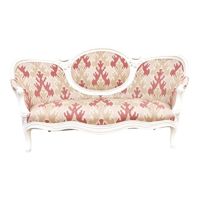 Victorian Transitional Upholstered Settee For Sale