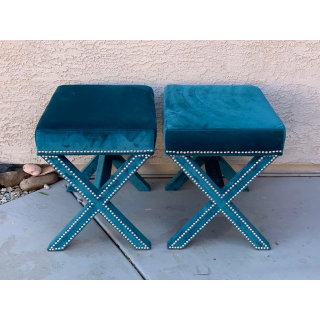 Modern Teal Velvet X Form Bench Seats - a Pair For Sale - Image 3 of 7