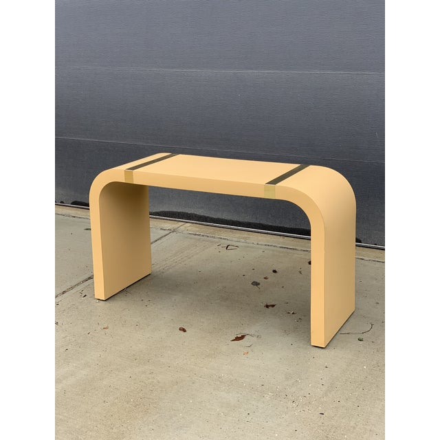 1980s Postmodern Brass and Laminate Waterfall Console Table For Sale - Image 4 of 4
