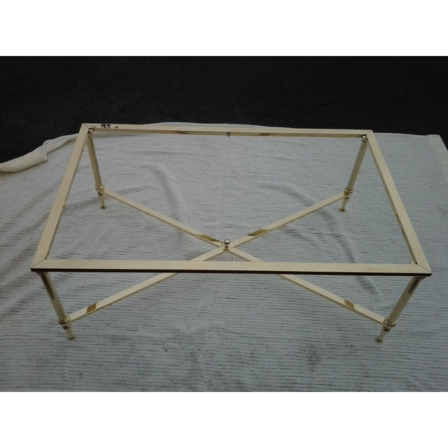 Mid-Century French Brass and Glass Coffee Table - Image 3 of 8