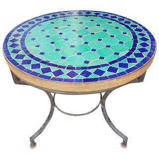 Moroccan Blue and Turquoise Mosaic Side Table For Sale