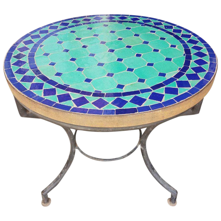 Genial Moroccan Blue And Turquoise Mosaic Side Table