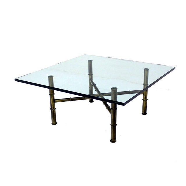 Mid 20th Century X Base Brass Faux Bamboo Square Glass Top Coffee Table For Sale - Image 5 of 8