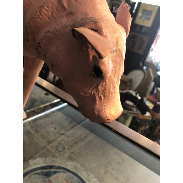 1960s Old Leather Pig With Glass Eyes For Sale - Image 5 of 7