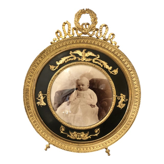 French Empire Antique Patinated Bronze Round Picture Frame For Sale