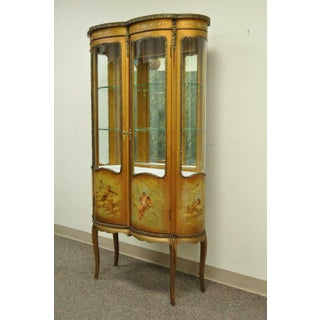 French Louis XV Vernis Martin Curved Glass Double Vitrine Preview