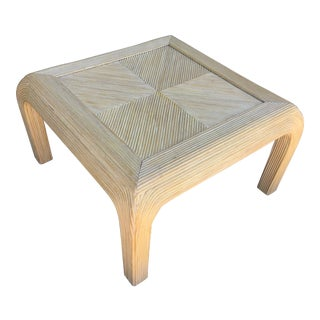 Gabriela Crespi Style Pencil Rattan Square Coffee Table For Sale