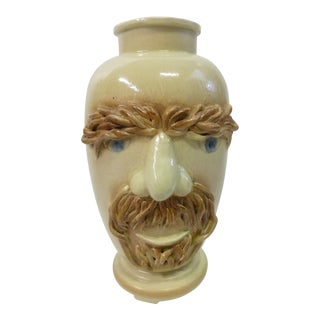 Vintage Italian Mid-Century Boho Chic Pottery Male Head Vase For Sale