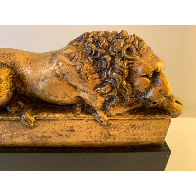 """Late 20th Century Vintage Gilt """"Borghese"""" Lion Bookends - a Pair For Sale - Image 5 of 11"""