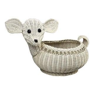 Mid Century Modern White Rattan Wicker Lamb Children's Basket After Mario Lopez Torres For Sale