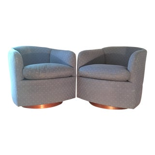 Vintage Milo Baughman for Thayer Coggin Swivel and Tilt Club Chairs - a Pair For Sale