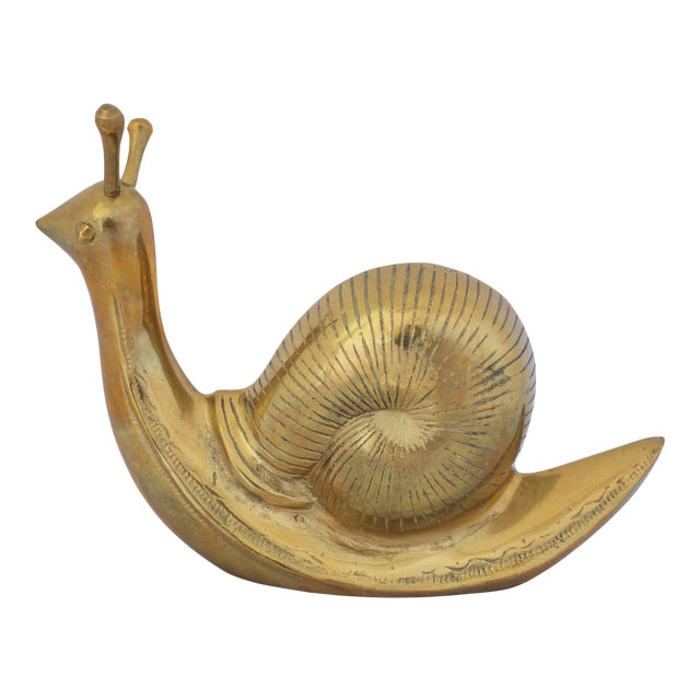 Mid Century Large Brass Snail For Sale