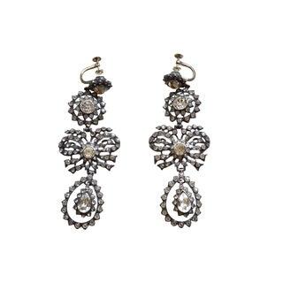 Georgian Sterling Paste 14k Royal Earrings For Sale