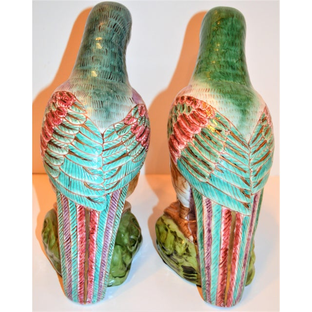 (Final Markdown) Green Majolica Parrot Figurines - a Pair For Sale - Image 11 of 12