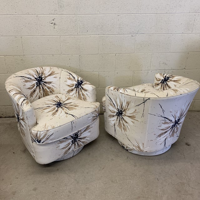 Milo Baughman Style Swivel Chairs - a Pair For Sale - Image 9 of 12