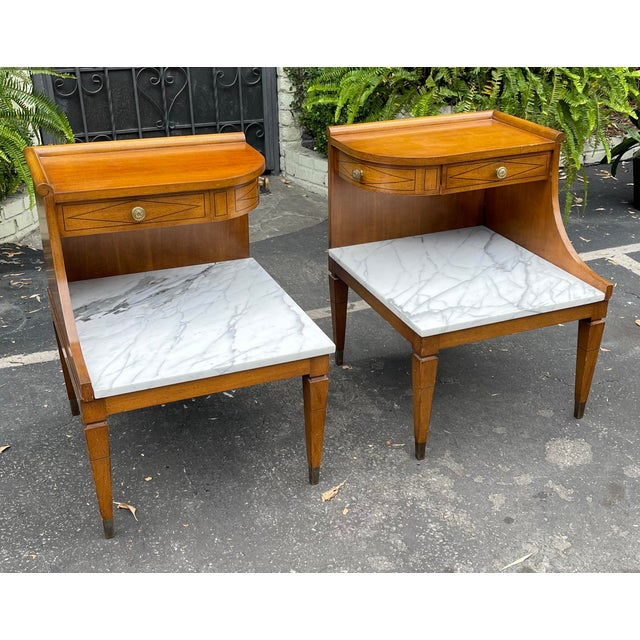 Mid-Century Modern Grosfeld House Hollywood Regency Mid Century Modern Empire Walnut & Marble End Tables - a Pair For Sale - Image 3 of 8