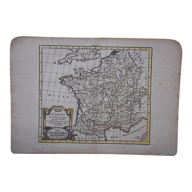 Antique 18th C. Map-France (Gaul) For Sale