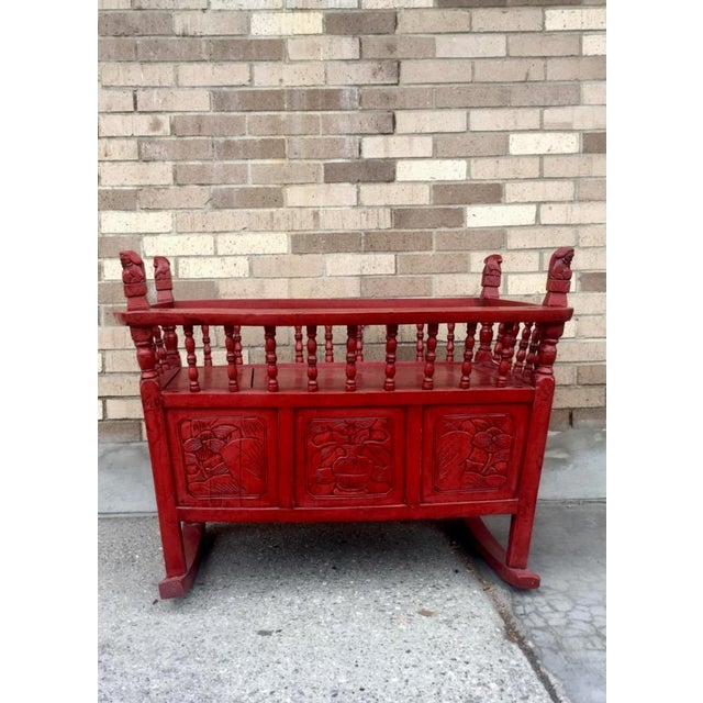 1980's Red Lacquer Cradle/Bar-Cart - Image 2 of 3